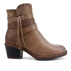 Khaki ankle boot in faux leather with pompom