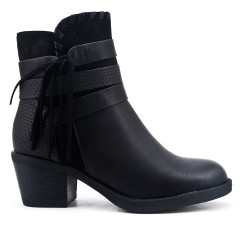 Black ankle boot in faux leather with pompom