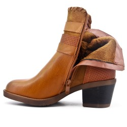 Camel ankle boot in faux leather with pompom