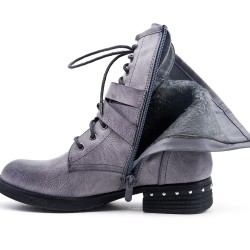 Gray imitation leather ankle boot with pearl strap