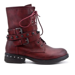Red imitation leather boot with pearl strap