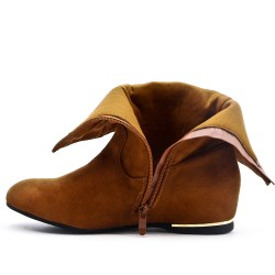 Wedge camel boot in faux suede