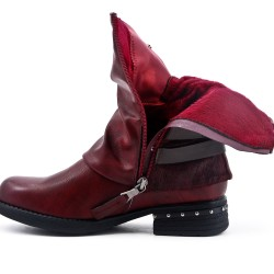 Red boot in faux leather