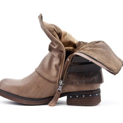 Botte kaki en simili cuir