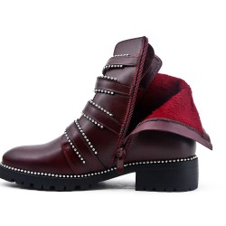 Red leather ankle boot with buckled bridle