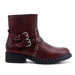 Red imitation leather boot with strass strap