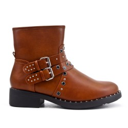 Camel ankle boot with strass flange