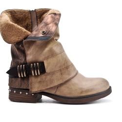 Khaki bi-material boot