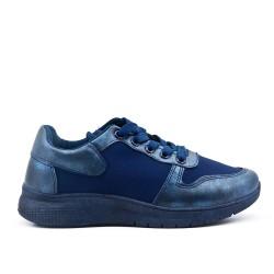 Basket bi-matière bleu à lacet