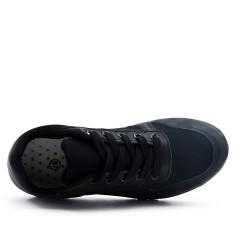 Basket bi-matière noir à lacet