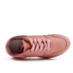 Basket bi-matière rose à lacet