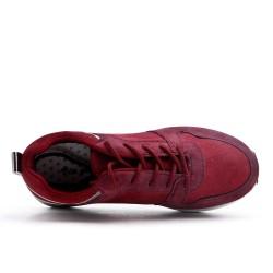Basket bi-matière rouge à lacet