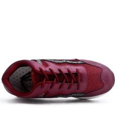 Basket rouge détail pailleté à lacet