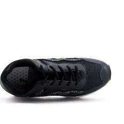 Basket noire détail pailleté à lacet
