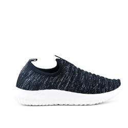 Basket basse noire en textile extensible