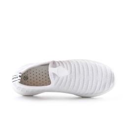 Basket basse blanche en textile extensible