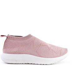 Basket basse rose en textile extensible
