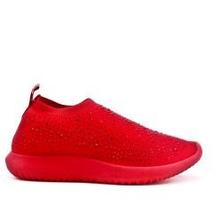 Basket rouge en textile extensible orné de strass