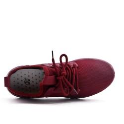 Basket rouge en toile à lacet
