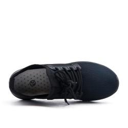 Basket noire en toile à lacet