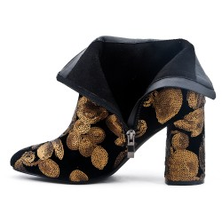 Black ankle boot with sequined flower pattern