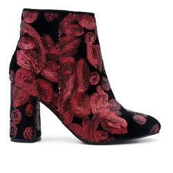 Black boot with red sequined flower pattern