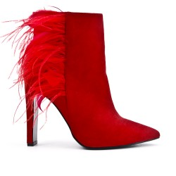 Red ankle boot in faux suede with feather