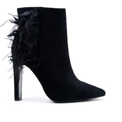 Black ankle boot in faux suede with feather