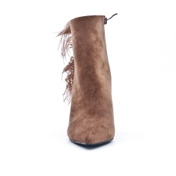 Khaki ankle boot in faux suede with feather