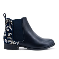 Blue imitation leather ankle boot with flower embroidery