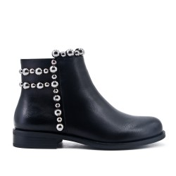 Black imitation leather ankle boot with decorative pearl
