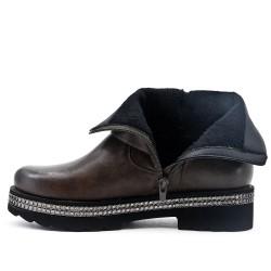 Khalki imitation leather ankle boot with a rhinestone sole