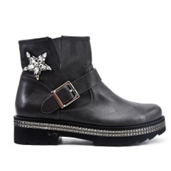Gray imitation leather ankle boot with rhinestone sole