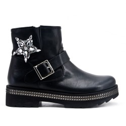 Black imitation leather ankle boot with a rhinestone sole