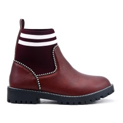 Ankle boot with faux leather sock