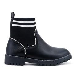 Bottine noire en simili cuir avec tige chaussette