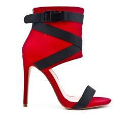 Sandale montante rouge à talon