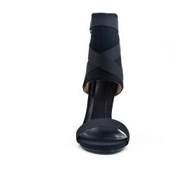 Sandale montante noire à talon