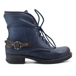Bottine bleu en simili cuir à zippé en déco