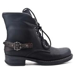 Bottine noire en simili cuir à zippé en déco