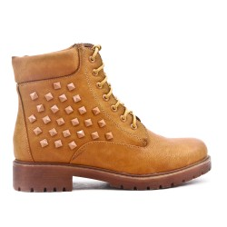 Camel leather ankle boot with studs on the side
