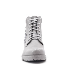 Gray leather ankle boot with studs on the side