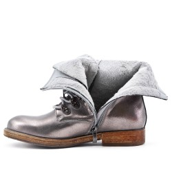 Silver faux leather lace-up boot