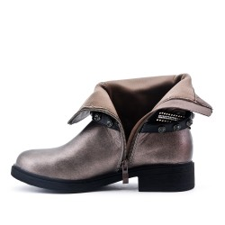 Silver imitation leather ankle boot with rhinestone strap