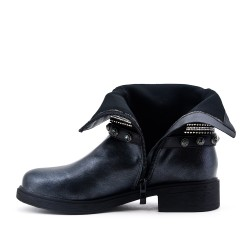Blue imitation leather ankle boot with pearl strap