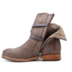Khaki imitation leather ankle boot