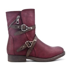 Red imitation leather ankle boot