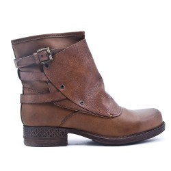 Brown ankle boot with faux leather back