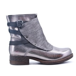 Silver ankle boot with faux leather back