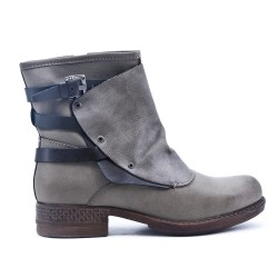 Gray ankle boot with faux leather back